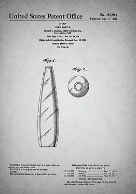 Beer Drawings - Vintage Beer Bottle Patent by Dan Sproul