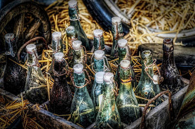 Vintage Beer Bottles Print by Thomas Wolter