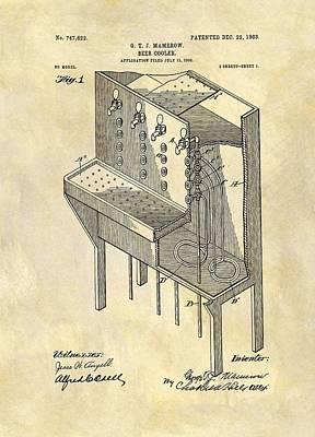 Beer Drawings - Vintage Beer Cooler Patent by Dan Sproul