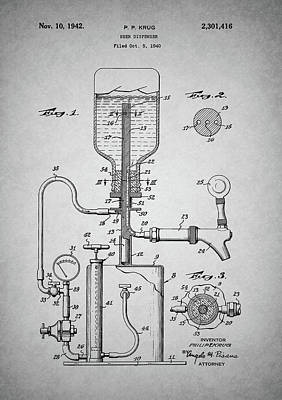 Drawing - Vintage Beer Dispenser Patent by Dan Sproul