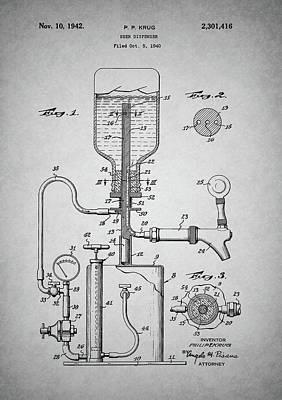 Beer Drawings - Vintage Beer Dispenser Patent by Dan Sproul