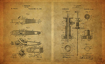 Drawing - Vintage Beer Taps Patent Collage by Dan Sproul