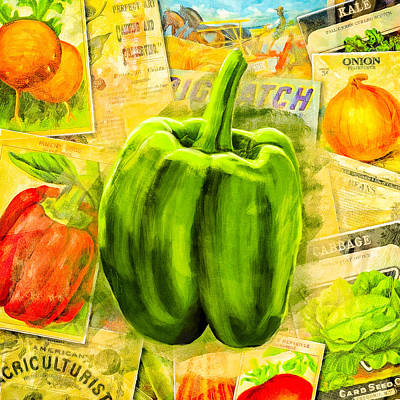 Digital Art - Vintage Bell Pepper by Mark E Tisdale