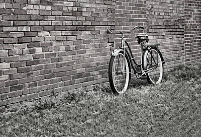 Photograph - Vintage Montgomery Ward Bicycle In B/w by Greg Jackson