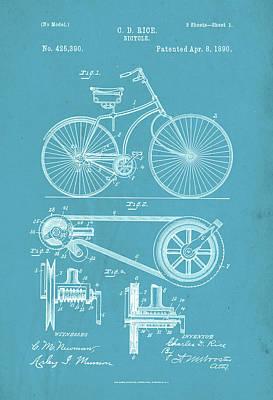 Digital Art - Vintage Bicycle Patent Artwork by David Holm