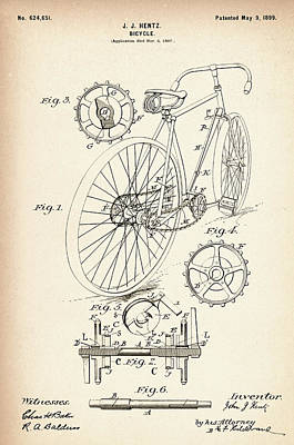 Bicycle Photograph - Vintage Bicycle - Patent Drawing For The 1899 J. J. Hentz Bicycle by Jose Elias - Sofia Pereira