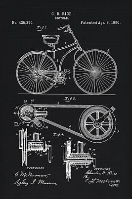 Bicycle Drawing - Vintage Bicycle Patent Illustration 1890 by Tina Lavoie