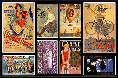 Photograph - Vintage Bicycle Posters by Andrew Fare