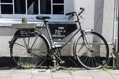 Photograph - Vintage Bicycle With Advertising Sign For Breakfast And Cafe. by Tom Conway