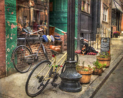 Photograph - Vintage Bicycles - Boston North End Scenes by Joann Vitali