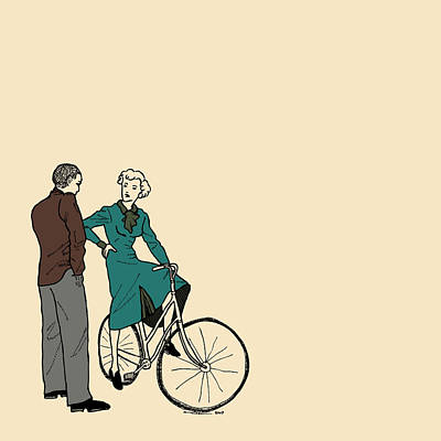 Bicycle Drawing - Vintage Bike Couple by Karl Addison