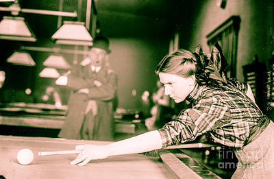 Cue Painting - Vintage Billiards Girl Shooting Pool by Mindy Sommers