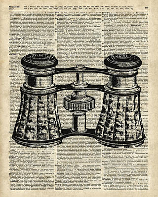 Glass Wall Digital Art - Vintage Binoculars Over Old Dictionary Page by Jacob Kuch
