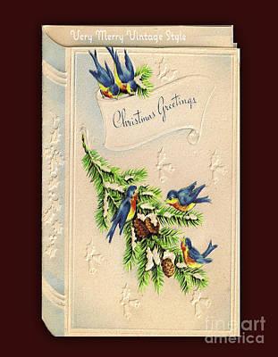 Digital Art - Vintage Blue Bird Christmas Card by Melissa Messick
