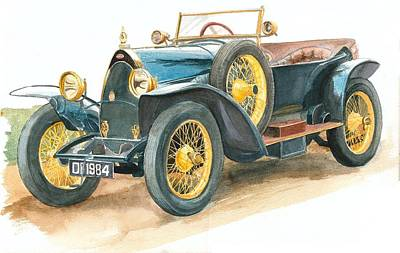 Painting - Vintage Blue Bugatti Classic Car by Joy of Life Art Gallery