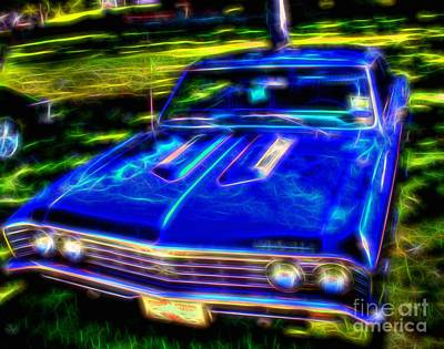 Photograph -  1967 Vintage Blue Chevelle Malibu by Peggy Franz