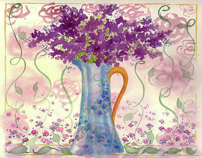 Print featuring the painting Vintage Blue Flower Bouquet by Cathie Richardson