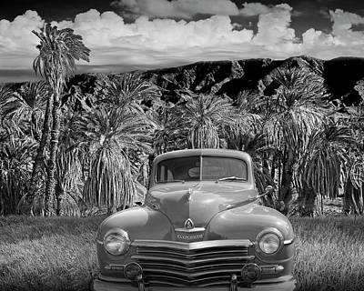 Photograph - Vintage Blue Plymouth Automobile In Black And White by Randall Nyhof