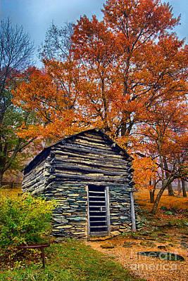 Vintage Blue Ridge Parkway Cabin In Autumn Art Print by Dan Carmichael
