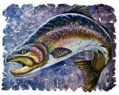 Vintage Blue Trout Fresco  Art Print