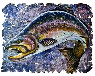 Digital Art -  Vintage Blue Trout Fresco  by Lena  Owens OLena Art