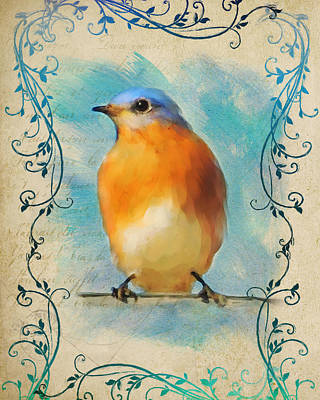 Painting - Vintage Bluebird With Flourishes by Jai Johnson
