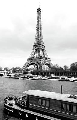 Photograph - Vintage Boat Moored On The Seine River Beneath Eiffel Tower Paris France Black And White by Shawn O'Brien