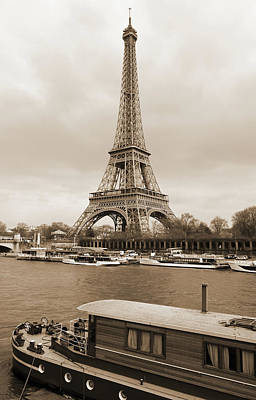 Photograph - Vintage Boat Moored On The Seine River Beneath Eiffel Tower Paris France Sepia by Shawn O'Brien