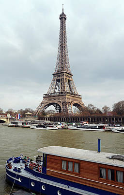 Photograph - Vintage Boat Moored On The Seine River Beneath Eiffel Tower Paris France by Shawn O'Brien