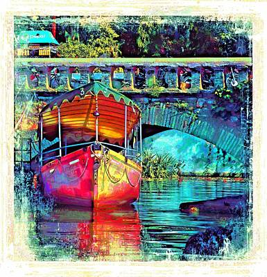Photograph - Vintage Boat Reflections Water Bridge Udaipur City Of Lakes Rajasthan India 1a by Sue Jacobi
