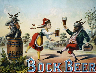 Goat Mixed Media - Vintage Bock Beer Advertisement 1900 by Movie Poster Prints