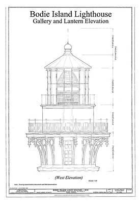 Lighthouse Drawing - Vintage Bodie Island Lighthouse Blueprint by ArtAssociates