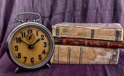 Photograph - Vintage Books And Clock by Julian Popov