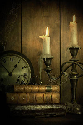 Photograph - Vintage Books With Candles And An Old Clock by Ethiriel Photography