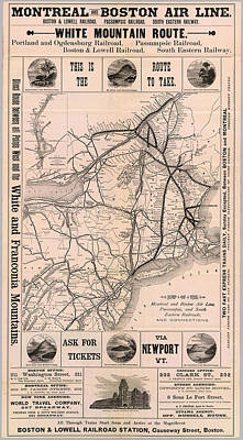 Old Montreal Drawing - Vintage Boston And Montreal Railroad Map  by CartographyAssociates