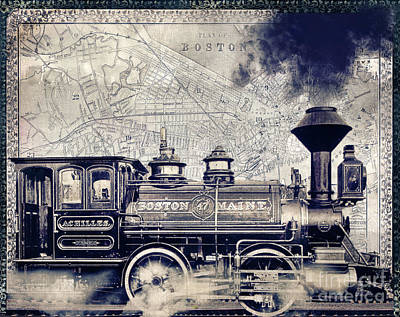 Vintage Locomotive Painting - Vintage Boston Railroad by Mindy Sommers