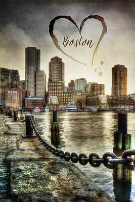 Vintage Boston Skyline Art Print