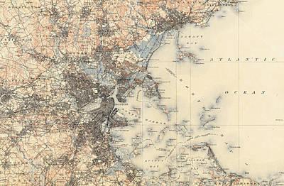 Boston Ma Drawing - Vintage Boston Transit Line Map - 1914 by CartographyAssociates
