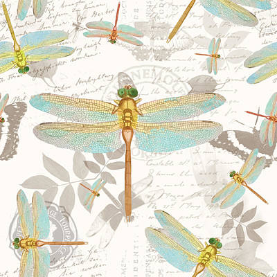 Vintage Botanicals Collection Dragonflies On The Wing Art Print by Tina Lavoie