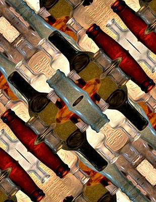 Vintage Bottles Abstract Art Print