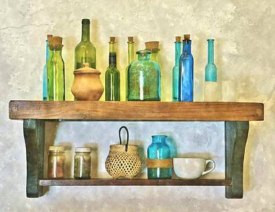 Stopper Digital Art - Vintage Bottles by Deb Zulawski