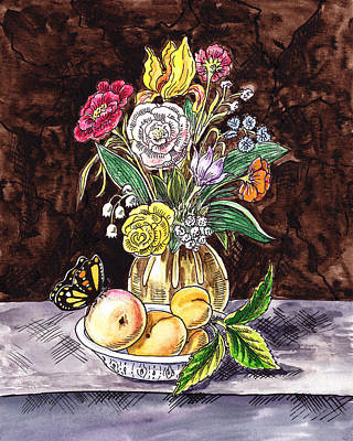 Painting - Vintage Bouquet With Fruits And Butterfly  by Irina Sztukowski