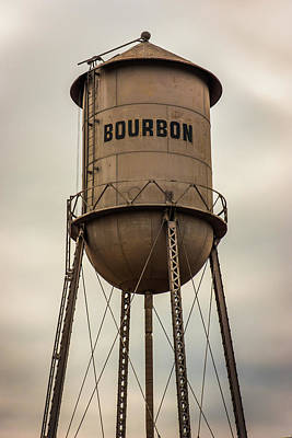 Photograph - Vintage Bourbon Whiskey Art Water Tower - Sepia Missouri by Gregory Ballos