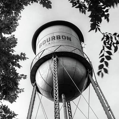 Photograph - Vintage Bourbon Whiskey Water Tower Surrounded By Foliage - Square Monochrome by Gregory Ballos
