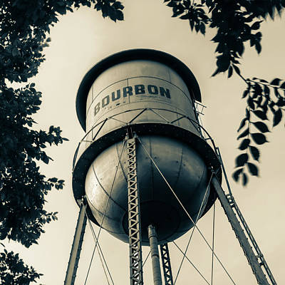 Photograph - Vintage Bourbon Whiskey Water Tower Surrounded By Foliage - Square Sepia by Gregory Ballos