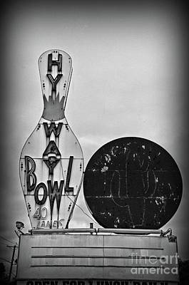 Photograph - Vintage Bowling Sign Black And White by Paul Ward