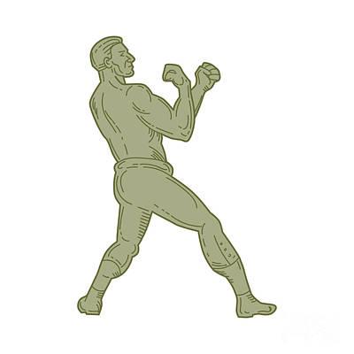 Vintage Boxer Fighting Stance Mono Line Art Print