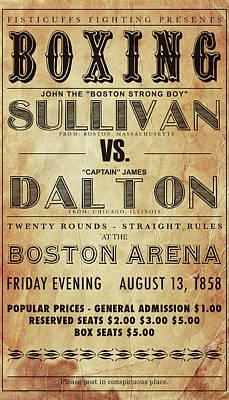 Vintage Boxing Poster John L Sullivan Vs James Dalton Art Print by Bill Cannon