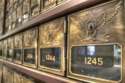 Mail Box Photograph - Vintage Brass Post Offic Mail Box Federal Eagle Postal Usps by Jane Linders