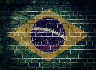 Digital Art - Vintage Brazil Flag On A Brick Wall by Steve Ball